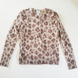 Ann Taylor Loft Leopard Print Button Down Cardigan